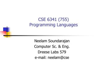 CSE 6341 (755) Programming Languages