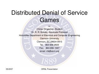Distributed Denial of Service Games