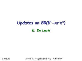 Updates on BR(K +  π + π 0 ) E. De Lucia