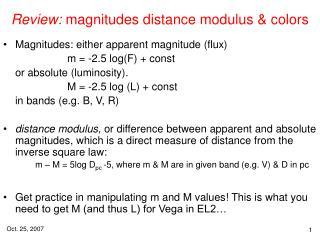 Review:  magnitudes distance modulus & colors