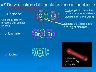 #7 Draw electron dot structures for each molecule