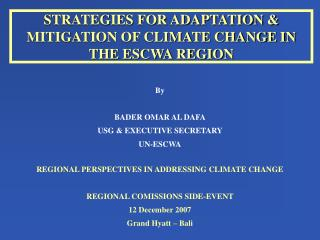 STRATEGIES FOR ADAPTATION & MITIGATION OF CLIMATE CHANGE IN THE ESCWA REGION