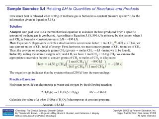 Sample Exercise 5.4  Relating  Δ H to Quantities of Reactants and Products