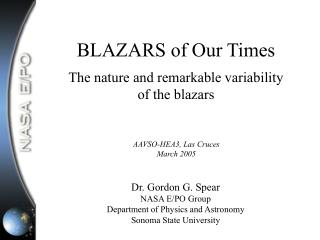 BLAZARS of Our Times