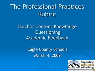 The Professional Practices Rubric Teacher Content Knowledge  Questioning  Academic Feedback