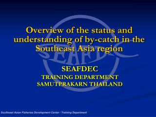 Overview of the status and understanding of by-catch in the Southeast Asia region