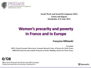 Women's precarity and poverty  in France and in Europe