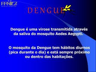 Dengue   uma virose transmitida atrav s da saliva do mosquito Aedes Aegypti.