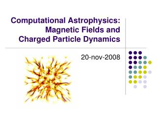 Computational Astrophysics: Magnetic Fields and  Charged Particle Dynamics