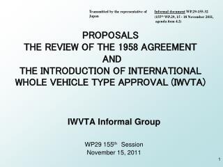 IWVTA Informal Group WP29 155 th Session November 15, 2011