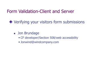 Form Validation-Client and Server