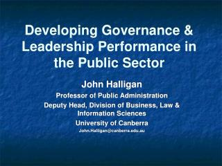 Developing Governance & Leadership Performance in the Public Sector