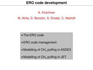 ERO code development