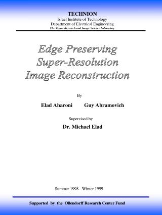 Edge Preserving Super-Resolution Image Reconstruction