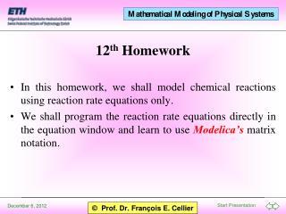 12 th  Homework