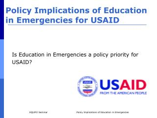 Policy Implications of Education in Emergencies for USAID