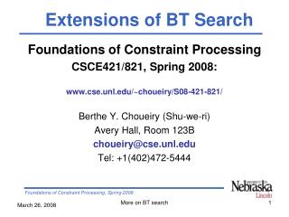 Foundations of Constraint Processing CSCE421/821, Spring 2008: