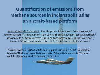 Quantification of emissions from methane sources in Indianapolis using an aircraft-based platform