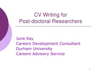 CV Writing for  Post-doctoral Researchers
