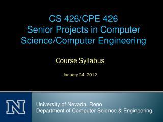 Course Syllabus January 24, 2012