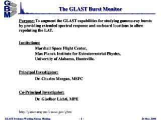 The GLAST Burst Monitor