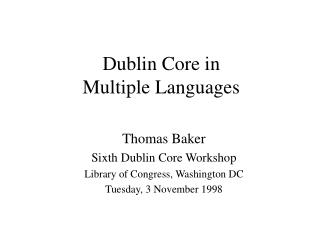 Dublin Core in Multiple Languages