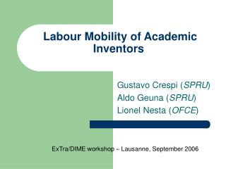 Labour Mobility of Academic Inventors