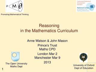 Reasoning in the Mathematics Curriculum