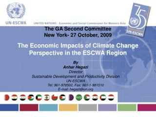 By Anhar Hegazi Director Sustainable Development and Productivity Division UN-ESCWA