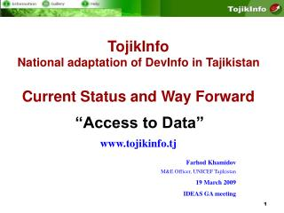 TojikInfo National adaptation of DevInfo in Tajikistan Current Status and Way Forward