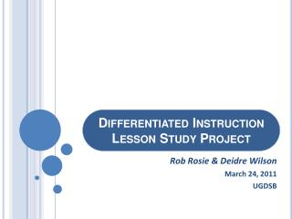 Differentiated Instruction Lesson Study Project