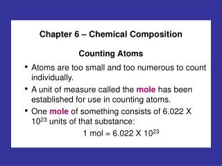 Chapter 6 � Chemical Composition Counting Atoms