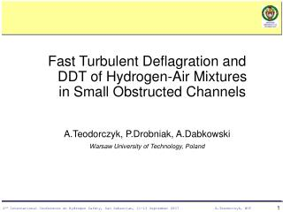 Fast Turbulent Deflagration and DDT of Hydrogen-Air Mixtures in Small Obstructed Channels