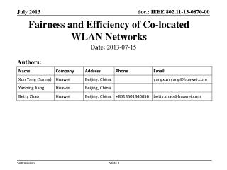 Fairness and Efficiency of Co - located WLAN  Networks