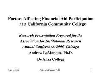 Factors Affecting Financial Aid Participation at a California Community College