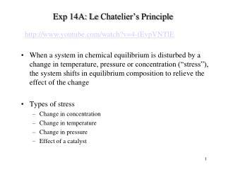 Exp 14A: Le  Chatelier's  Principle