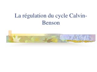 La r gulation du cycle Calvin-Benson