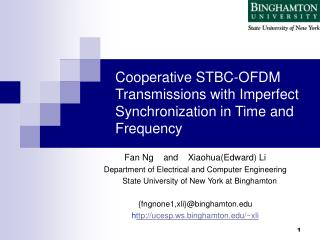 Cooperative STBC-OFDM Transmissions with Imperfect Synchronization in Time and Frequency