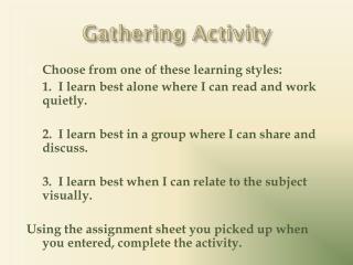 Gathering Activity
