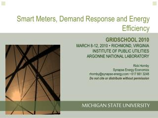 Smart Meters, Demand Response and Energy Efficiency