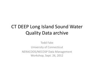 CT DEEP Long Island Sound Water Quality Data archive