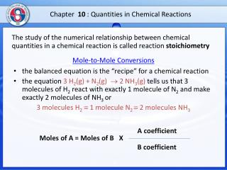 Chapter 10  : Quantities in Chemical  Reactions