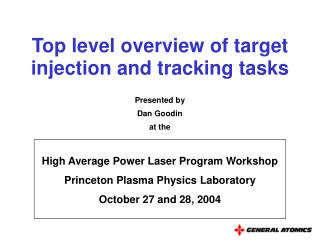 Top level overview of target injection and tracking tasks