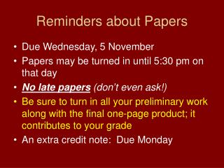 Reminders about Papers