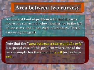 Area between two curves: