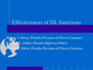 Effectiveness of DL Sanctions
