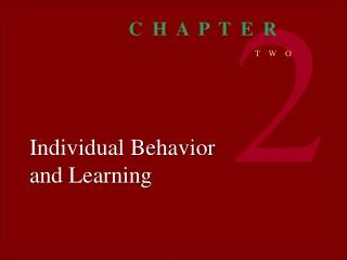 Individual Behavior and Learning