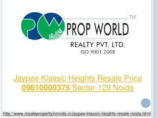 Jaypee Klassic Heights Resale Price 09810000375 Sector-129 N