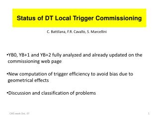 Status of DT Local Trigger Commissioning