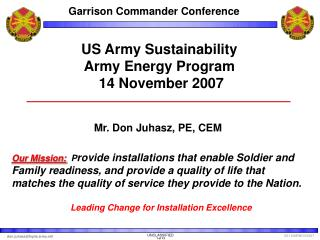 US Army Sustainability  Army Energy Program  14 November 2007